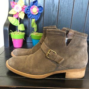J. Crew Sz 7 Short Moto Brown Suede Buckle Boots